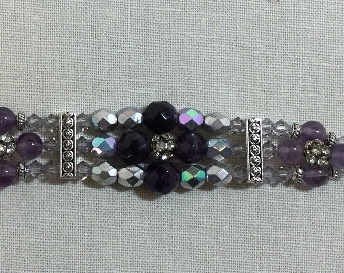 Triple-strand amethyst bracelet bracelet with Czeck beads and Swarovski crystals with adjustable lobster clasp closure