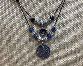 Lapis Lazuli and leather necklace
