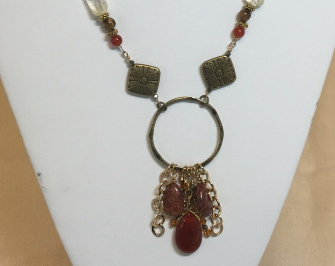 Brass pendant-length necklace with carnelian, citrine, and jasper