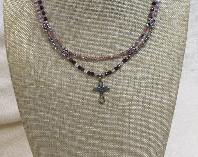 Sterling cross necklace with ruby and pink tourmaline
