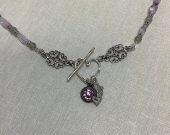 Amethyst heart front toggle necklace