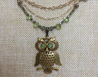 Convertible owl pendant with Peridot and Herkimer diamonds