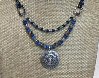 Lapis, leather and Hill Tribe silver