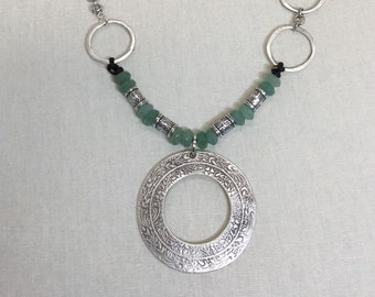 Turkish silver, leather, and green aventurine