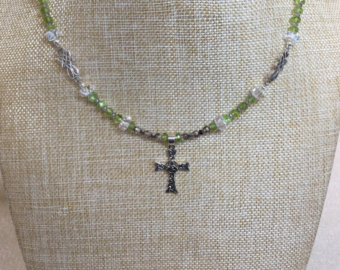 Sterling Celtic Cross necklace with Peridot, smoky quartz, and Swarovski crystals