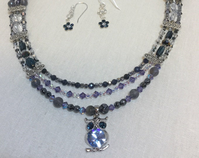 Blue Swarovski Wise Woman Necklace with triple strands