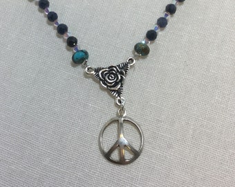 Sterling Peace sign necklace with turquoise and crystal