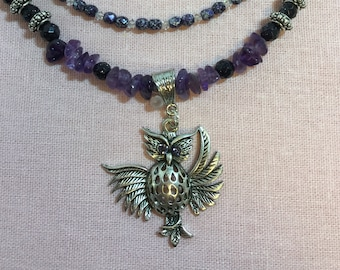 Owl pendant in the Wise Woman collection with amethyst and silver