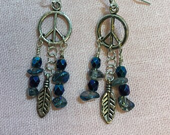 Hippie chick earrings with blue quartz