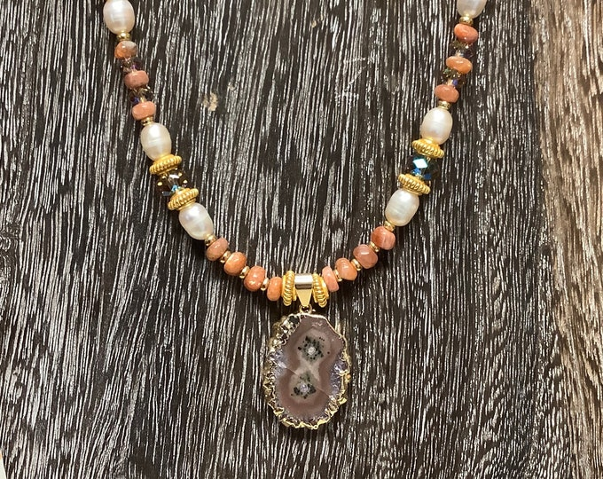 Geode and sunstone necklace