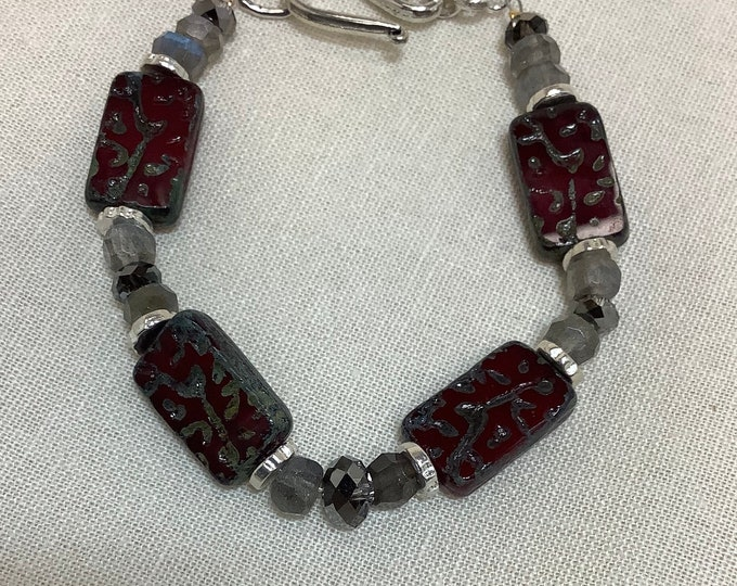 Czech glass tiles and Labradorite bracelet