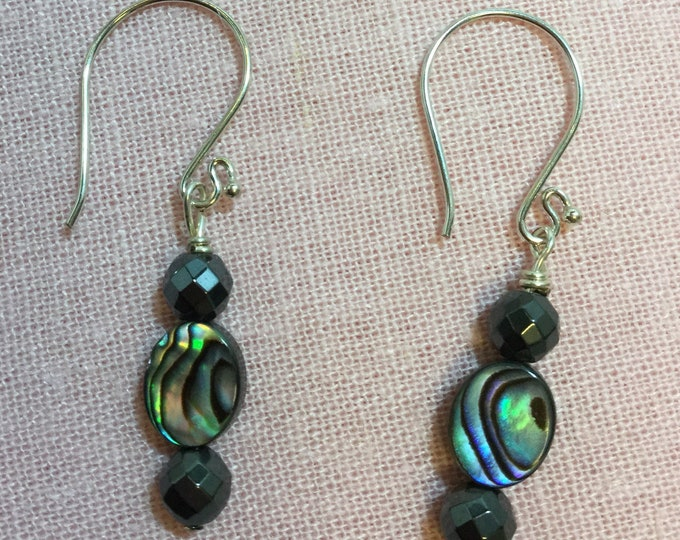 Abalone and hematite drop earrings with silver french wires