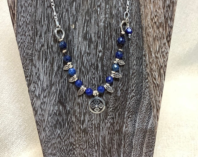 Lapis and Silver leaf necklace