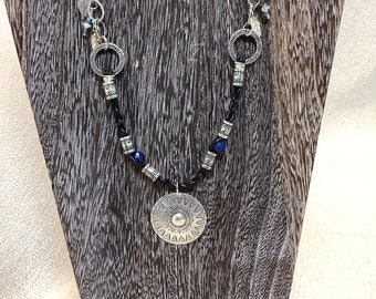 Hill Tribe Silver Pendant with Lapis Lazuli