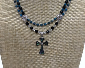 Abalone Cross necklace with apatite, onyx, labradorite and crystal