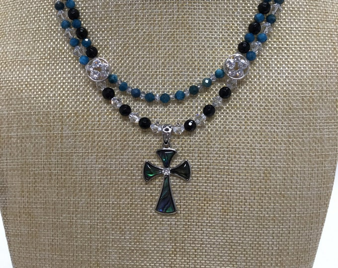 Abalone Cross necklace with apatite, onyx, labradorite and crystal Mother/daughter set