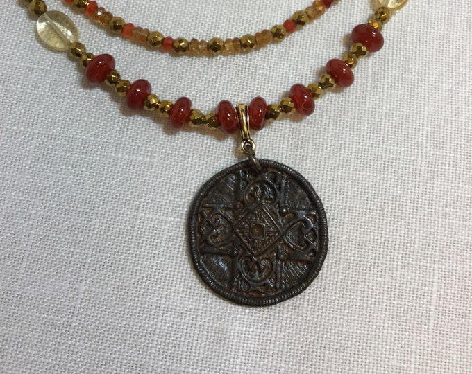 Ancient cross pendant necklace with red agate, citrine, carnelian, and hematite