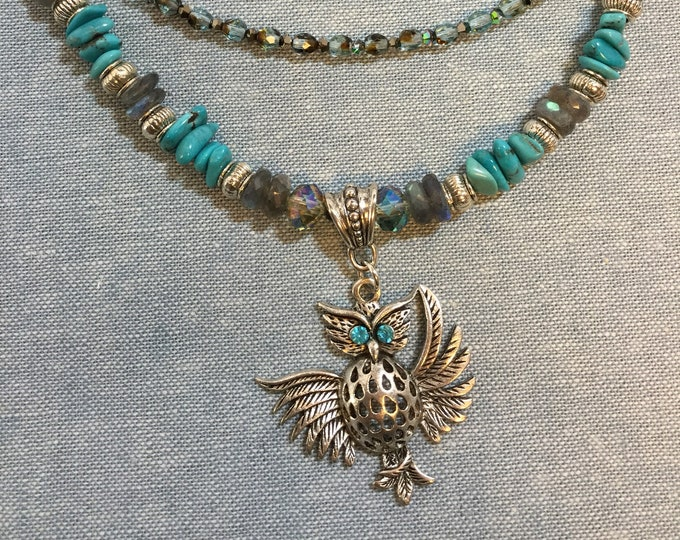 Owl pendant necklace with turquoise and labradorite from the Wise Woman collection