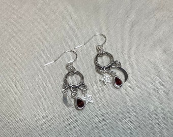 Moon and star earrings with ruby charms