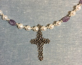 Sterling cross pendant with amethyst ovals, freshwater pearls, and silver beads