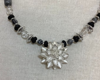 Karen Hill Tribe flower necklace with tumbled black-leaf Jasper