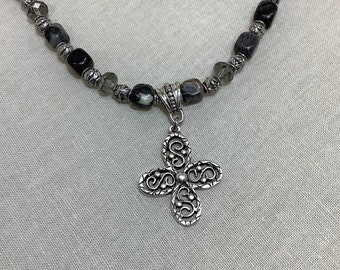 Cross necklace with black-leaf jasper