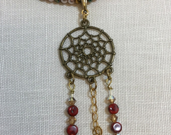 Dream Catcher Pendant: Triple strand beaded necklace with Czech beads