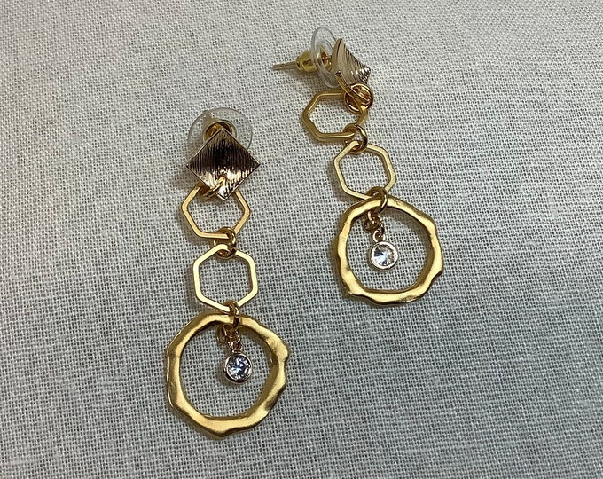 Triple hoop earring with crystal charm