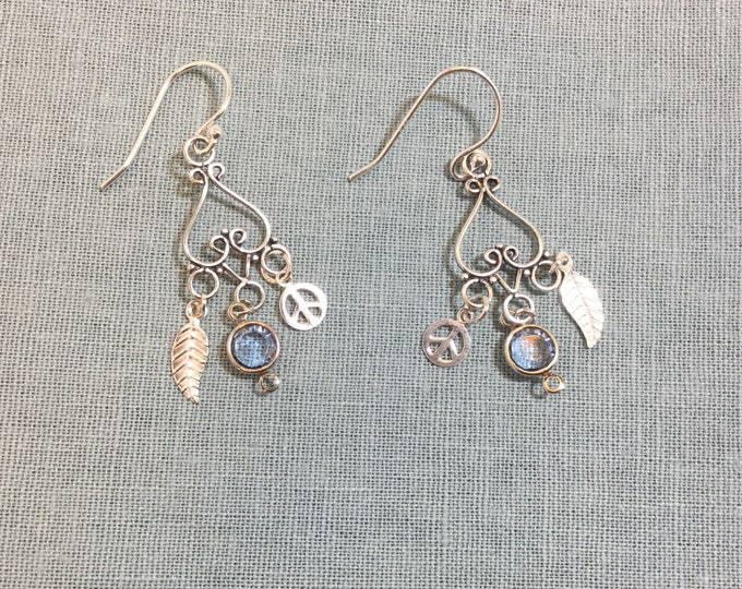 Silver Hippie Chick earrings, chandeliers, peace signs