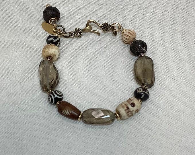 Lemon Quartz and bone bracelet