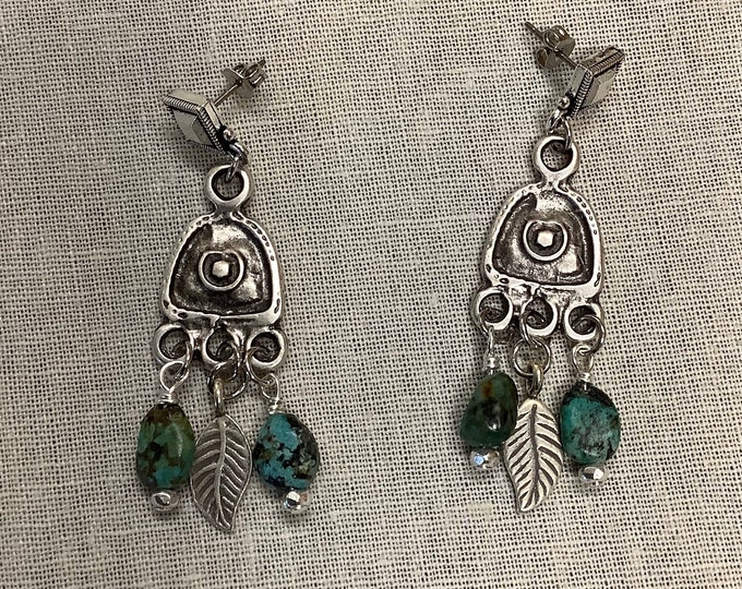 Pewter triangles dangle feathers and Turquoise