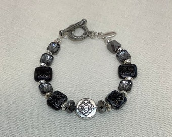 Czech glass tiles and Swarovski crystal bracelet