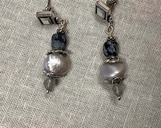 Pearl and Jasper dangle earrings with posts
