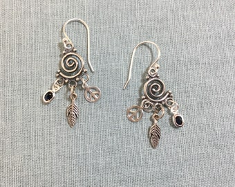 Tiny spirals with peace sign, feather, and Sapphire drop