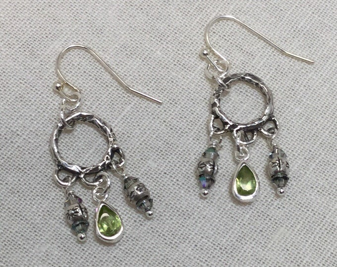 Peridot and Hill Tribe silver earrings