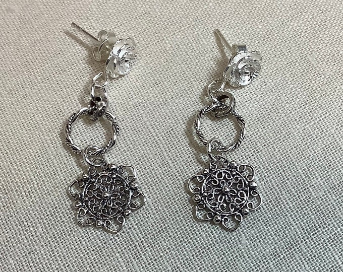 Tiny Sterling hoops with filigree charm