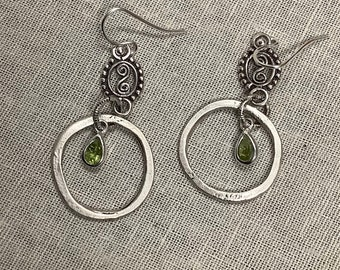 Silver Hoops with Peridot