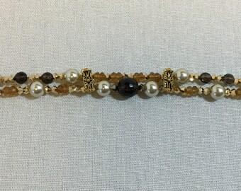 Double-strand smoky quartz and citrine bracelet