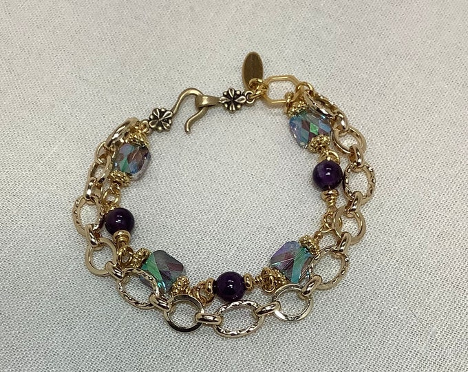 Swarovski crystals and gold bracelet