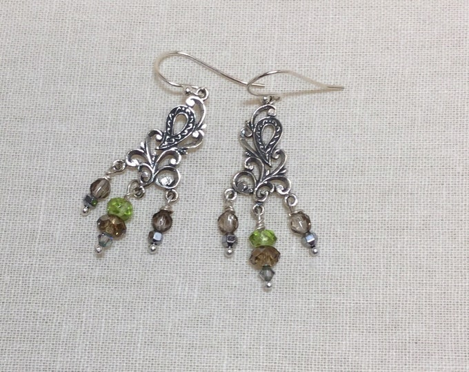 Peridot and silver chandeliers