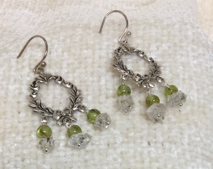 Peridot and Herkimer diamond earrings