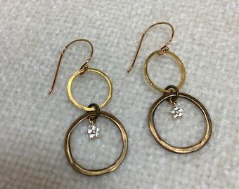 Gold and brass hoop earrings