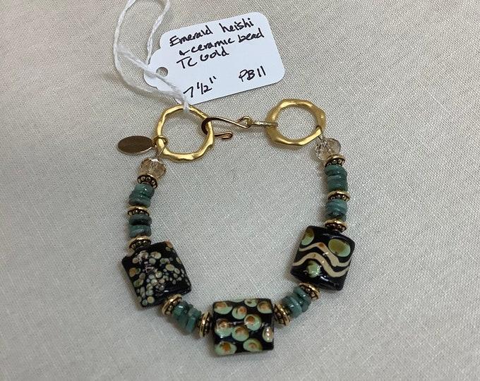 Ceramic and Emerald Bracelet