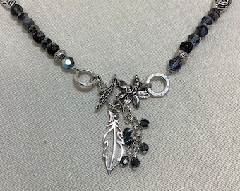 Toggle necklace with feather focal, Moonstone, and Onyx