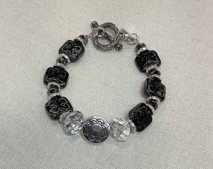 Czech glass tiles and Swarovski crystal bracelet
