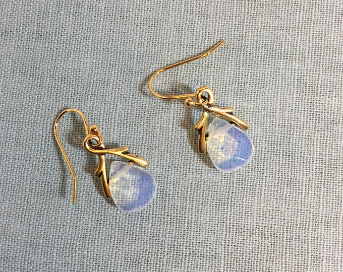 Opalite drop earrings with gold frame
