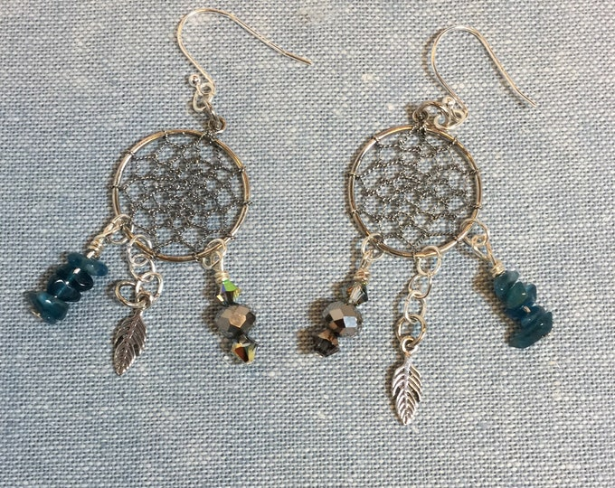 Sterling silver dreamcatchers with delicate opal chips and sterling feathers