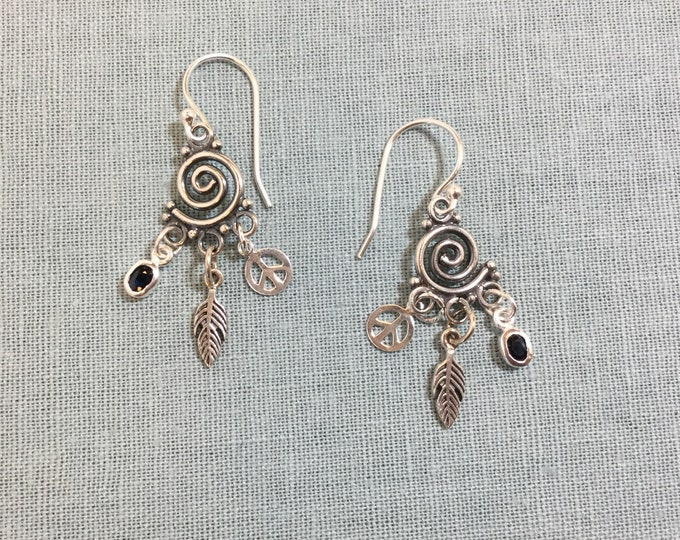 Tiny spirals with peace sign, feather, and Swarovsky drop
