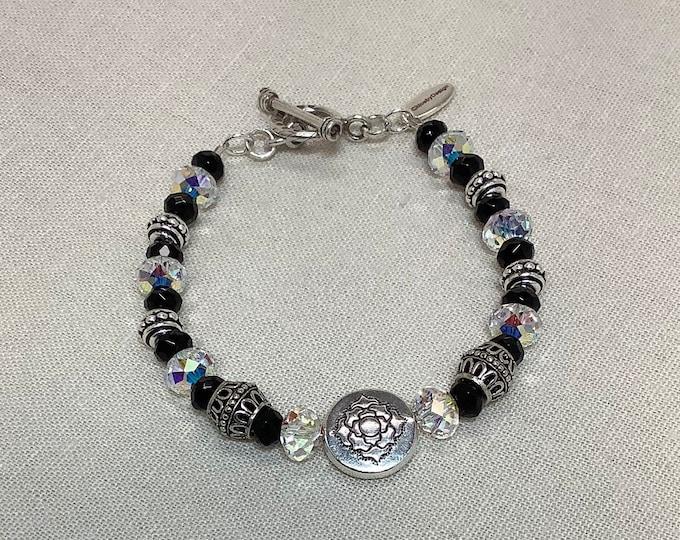 Czech glass tiles and Onyx bracelet