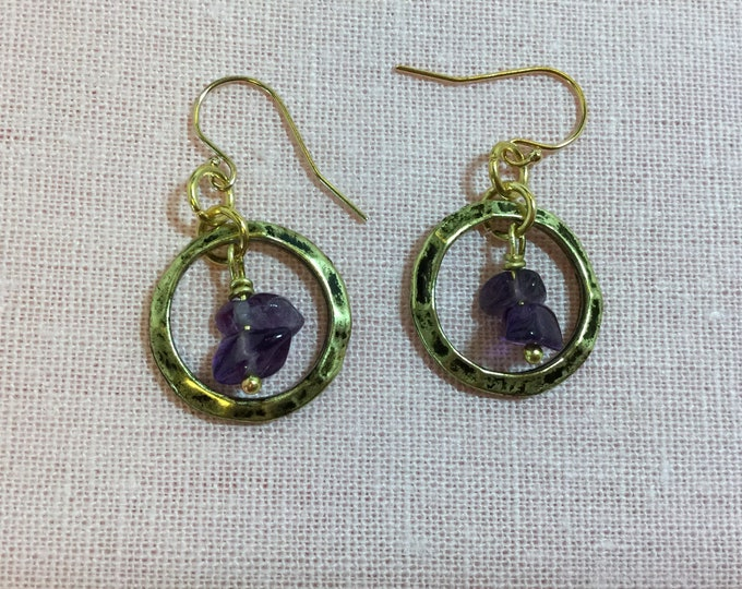 Silver or Gold-tone earrings with semi-precious chips